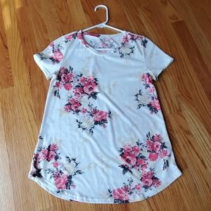12PM BY MON AMI Ivory Floral Short Sleeve Tshirt